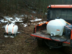 Collecting sap from one of five tanks on the farm.